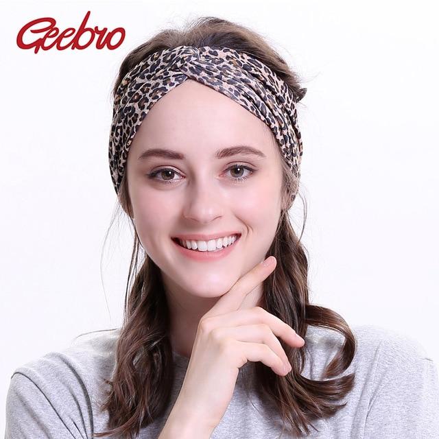 Geebro Women s Leopard Turban Headbands Twist Elastic Stretch Hairbands  Fashion Headband Yoga Bandanas Spa Head Band for Female f7a27cf53f0