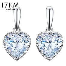 Big Cubic Zirconia Heart Drop Dangle Earrings For Women Female Crystal Wedding Earring Fashion Party Jewelry Wholesale