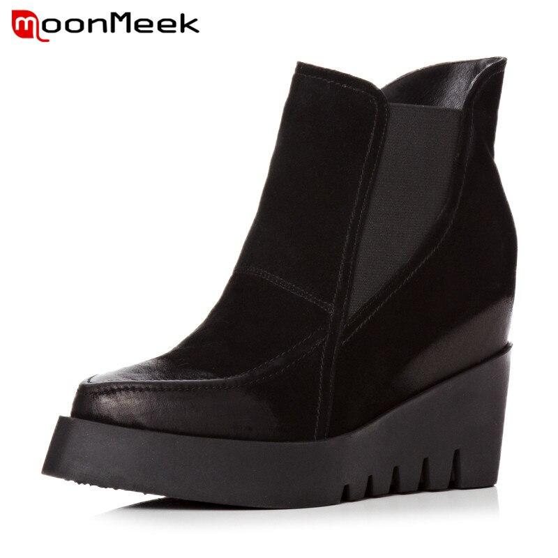 купить MoonMeek new autumn winter women boots fashion ladies suede leather boots elegant high heel ankle boots unique platform shoes по цене 2262.96 рублей