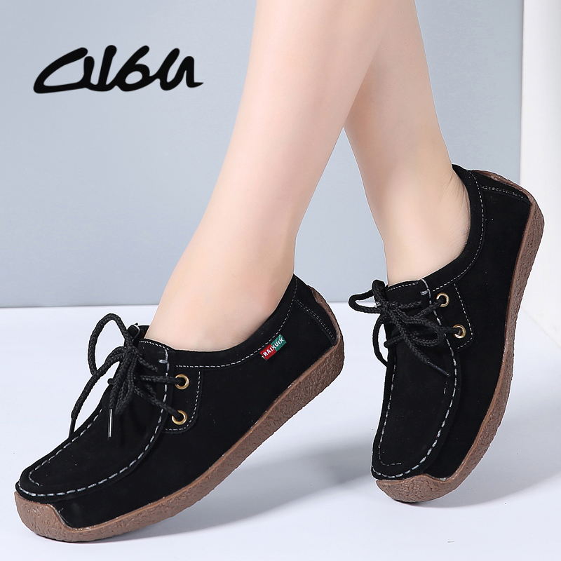 O16U Women Flats Boat Shoes Cutout Suede Leather Lace up Moccains Women Ballet Flats Casual Loafers Shoes Sneakers Women Oxfords chic glitter shoes women loafers black silver lace up bowknot casual ballet flats slip on rhinestone sneakers sequins moccasins