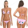Pink Jigglypuff Bikini Swimsuit Cute Pokemon Go Rondoudou Biquini Set Swimwear Strappy Bikinis Bra Sexy Triangle Beachwear Women