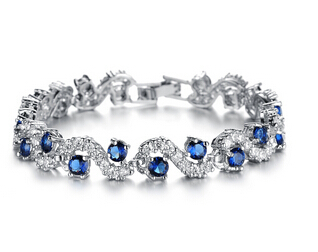 2017 New Lady Luxury Platinum Plated Blue Crystal Stone Bracelets Fashion Woman Hand Chain Pretty