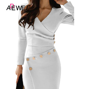 Image 2 - ADEWEL 캐주얼 화이트 Bodycon 연필 사무 작업 드레스 여성 긴 소매 v 목 단추 Ruched 파티 미디 가운 Asymmetrically 드레스