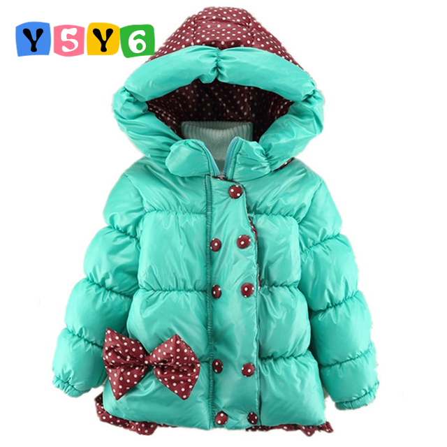 d8a27a382 2018 New Baby Girls Winter Jacket Kids Big Bow Design Cotton Warm ...