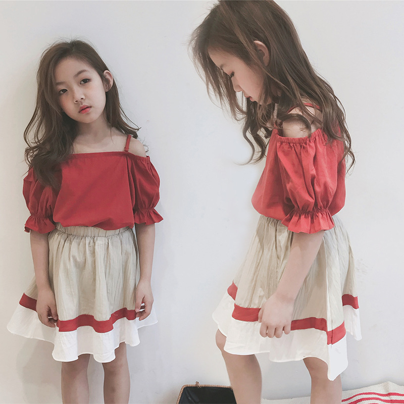 Sleeve Doll Shirt+Color Matching Skirt two pieces Set <font><b>Girls</b></font> Fall Outfits <font><b>Girls</b></font> <font><b>Clothes</b></font> <font><b>10</b></font> <font><b>12</b></font> <font><b>Year</b></font> image