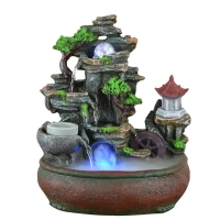 110/220V Resin Rockery Scenery Feng Shui Water Fountain Home Decoration Crafts Waterscape Atomizer Purifying Air Wedding Gifts