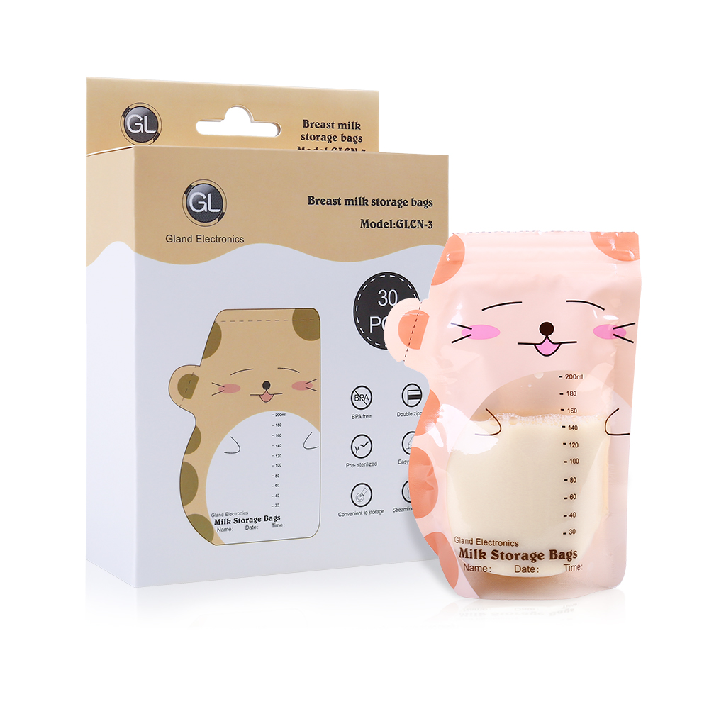 Cartoon Design Baby Breastfeeding Milk Storage Bag Food Juice Storage Bag Save Breast Milk Freezer Bags 30Pcs/Pack BPA Free