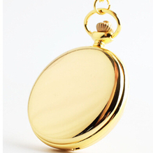 Fashion Silver/Bronze/black/Gold Polish Smooth Quartz Pocket Watch Jewelry Alloy Chain Pendant Necklace Man Women's Gift(China)