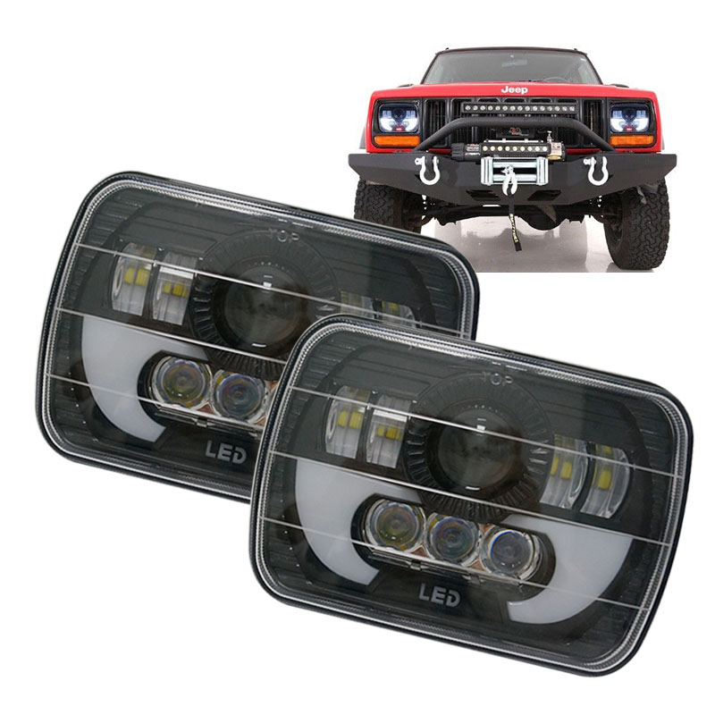 For Jeep Wrangler YJ Cherokee XJ 5x7 Rectangular led headlight Halo DRL 6X7 inch Auto lamps for 85-87 Chevy Truck Off Road universal black 3 76mm polished aluminum fmic intercooler piping kit diy pipe length 450mm for jeep cherokee xj ep lgtj76 450