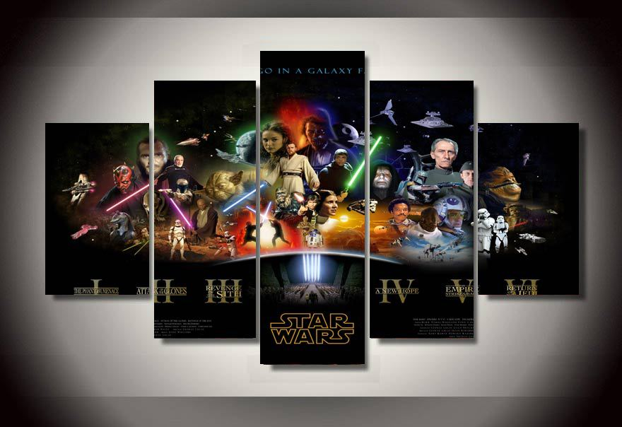 5 pieces movie poster star wars oil printed painting wall art
