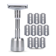 Razor Mens Adjustable Shaving Double Edge Classic Safety Razor Blade Exposure Six Levels 1 Handle & 10 Blades And 1 Holder
