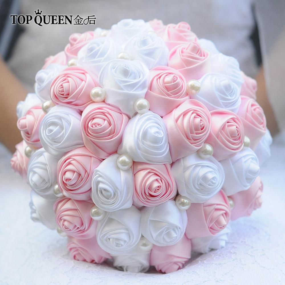 TOPQUEEN F4-PK Stunning Pink Bridal Bouquet Wedding Boutonniere Artifical Rose Flower Handmade Bouquet Ribbon Bridal Bouquets