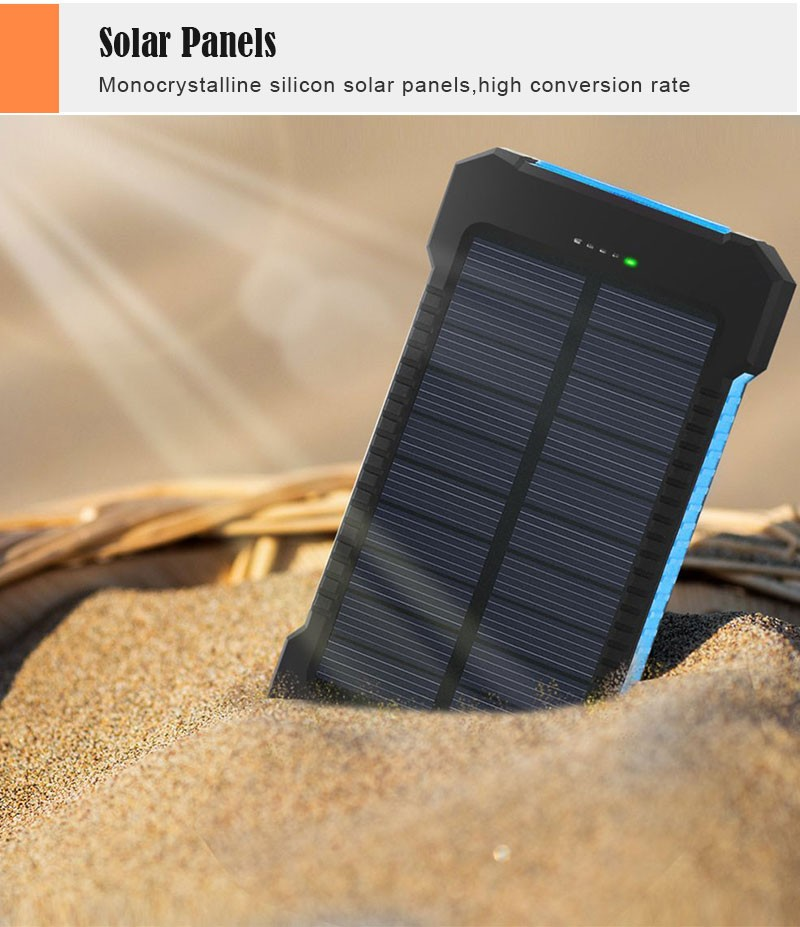 Waterproof Solar 30000mAh Solar Power Bank Charger 2 USB Ports External Charger Powerbank for Xiaomi with LED Light 5