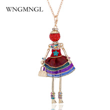 WNGMNGL New Women Cute Dress Doll Necklaces & Pendant Hot Sale Long Chain Baby Girls Maxi Necklace Fashion Statement Jewelry
