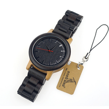 BOBO BIRD M18 Ebony Wood And Bamboo Watch Analog Men Wristwatch With Japan Movement