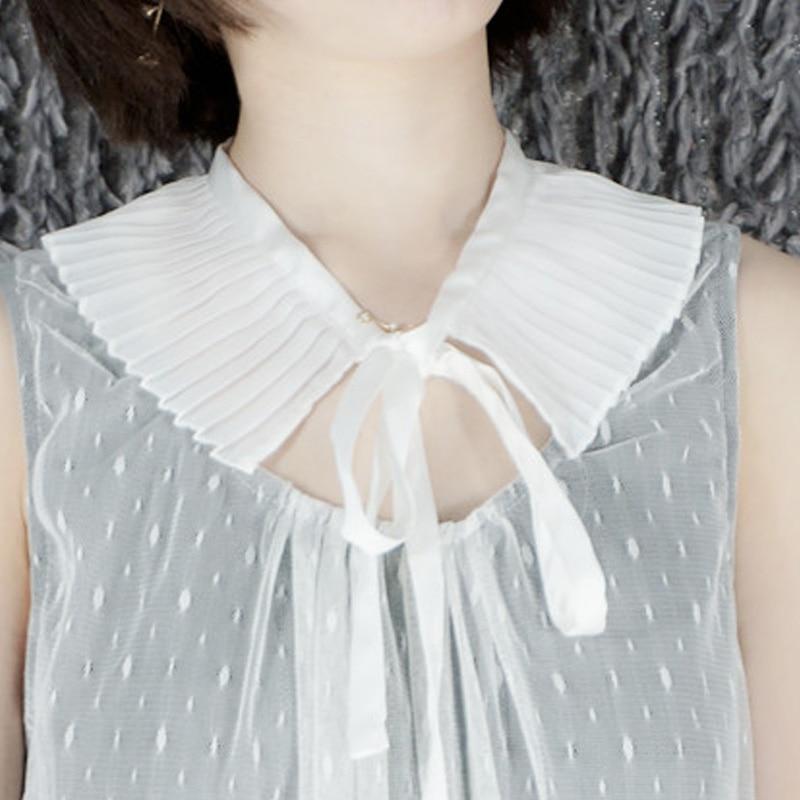 Блузка свитер декоративный хлопок Поддельный Воротник белый свежий японский плиссированный колледж Ветер тонкая лента бант ложный съемны...