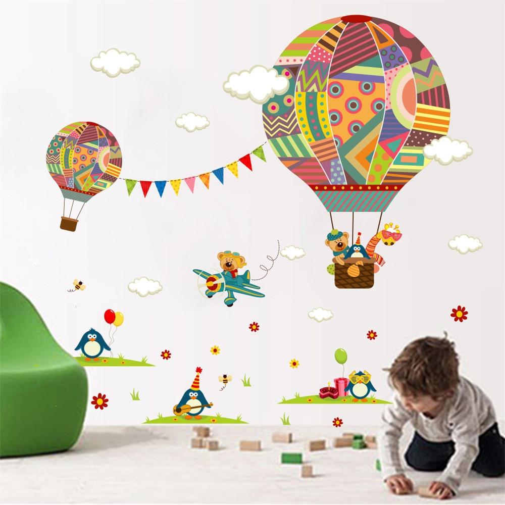 poster fur kinderzimmer, cartoon heißluftballon bären wandaufkleber für kinder baby zimmer, Design ideen