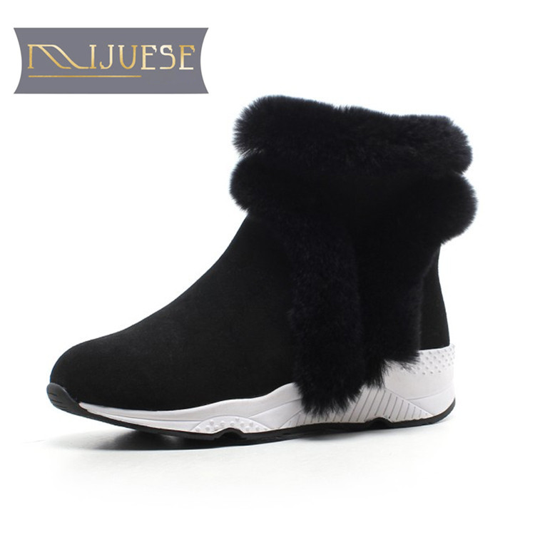 MLJUESE 2019 women snow boots Cow Suede zippers Rome style black color winter warm fur wool blend women ankle boots size 35-40 lapel flap pocket color block wool blend blazer