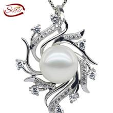 2017 Nuevo envío de La Gota Colgante de Perlas, Plata de ley 925 Collar de Cadena, envío Libre de Agua Dulce Blanco Perla Colgante