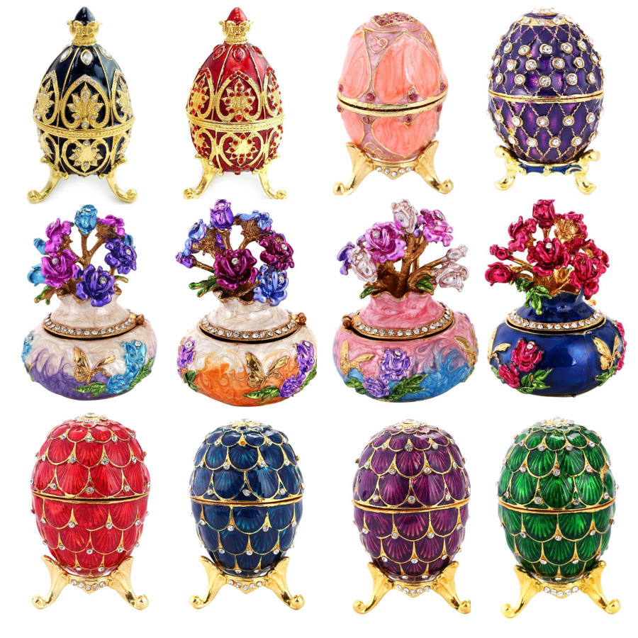 Creative Russian Faberge Egg Luxury Jewelry Easter Egg Painted Box On Stand Set With Enamel And Crystals Figurine Trinket Gift