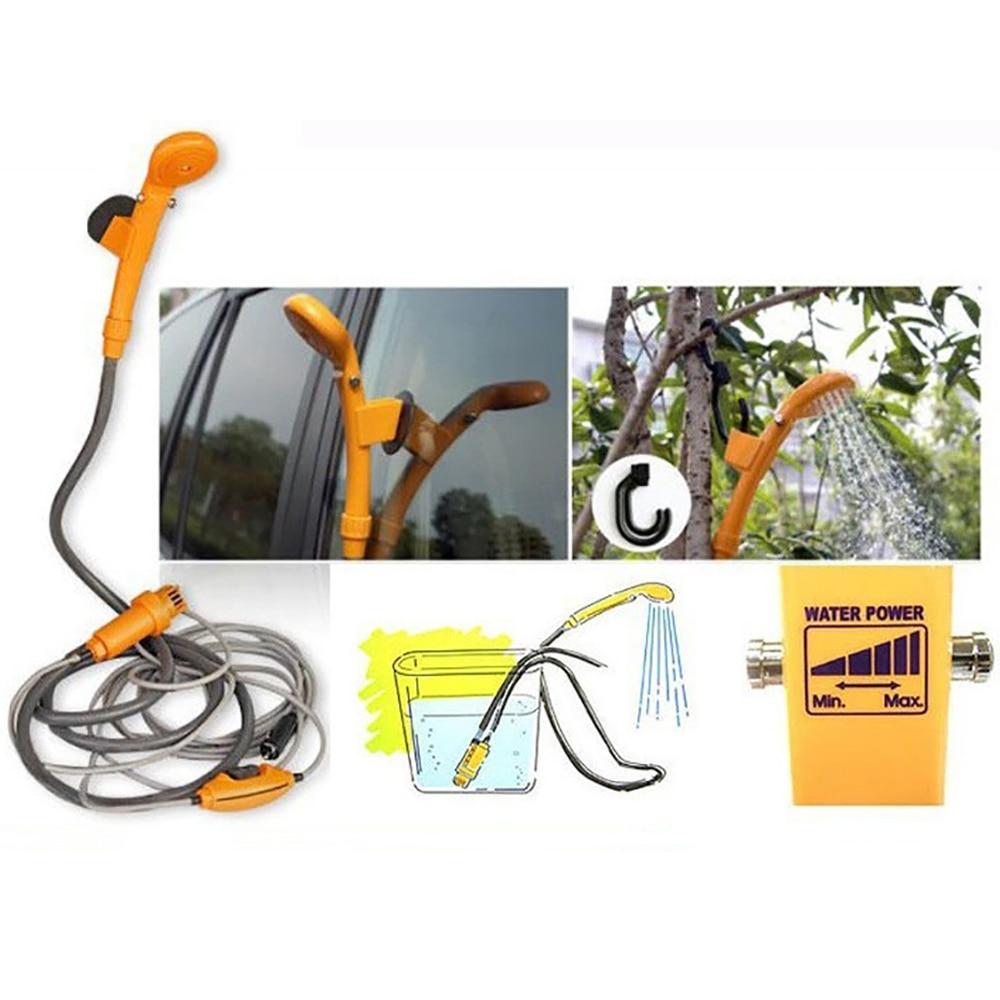 Portable 12V Electric Car Plug Outdoor Camper Caravan Van Camping Travel Shower Car Caravan Hiking Travel Shower Pump Pipe Kit