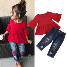 Г. Модные летние комплекты повседневной одежды От 1 до 6 лет красные футболки с рукавами-лепестками для маленьких девочек топы с цветочным принтом, Синие рваные штаны