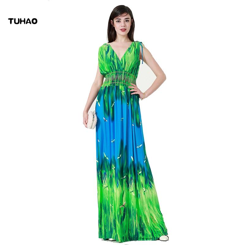 Online Shop Tuhao Australia Deep V Dress Blue And Green Woman Summer