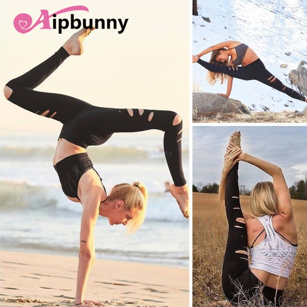 Hollow Out Sweatpants Running Gym Gym Leggings Work Out Yoga Pants Women Compression Tig ...