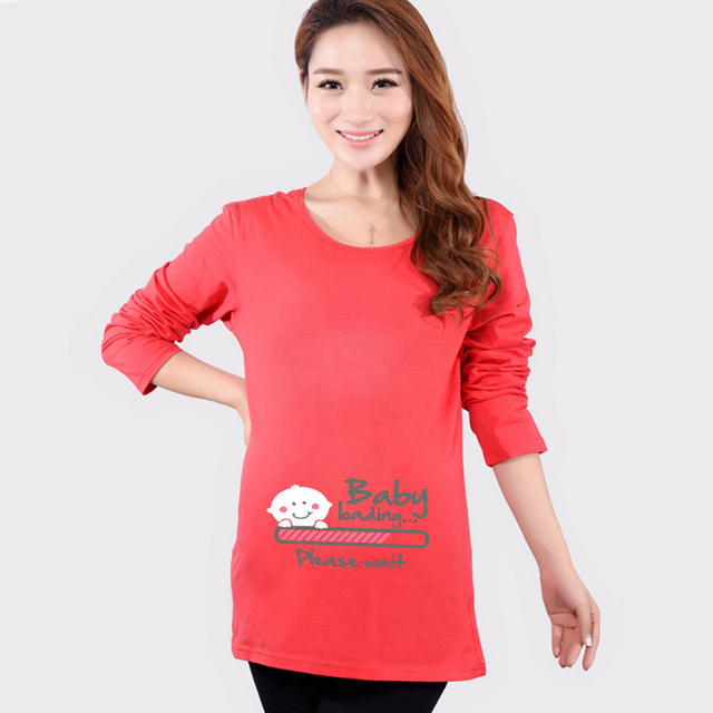 a3404feeff9 HOT Funny Maternity Shirts Baby Loading T Shirt Pregnant Women Tops Tees  Clothes Premama Wear Clothing Pregnancy Clothes Autumn