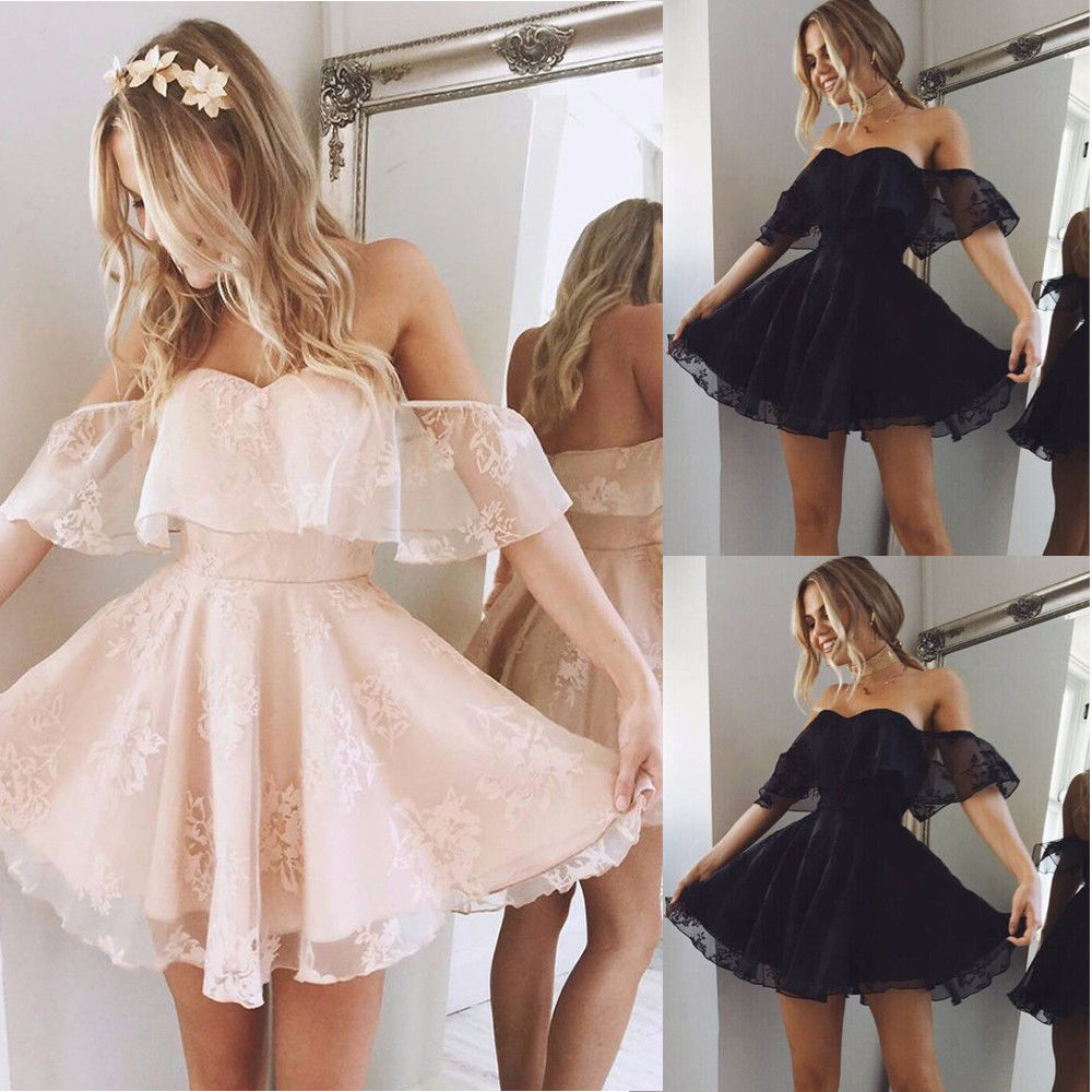 New Women Formal Lace Dress Summer Prom Off Shoulder Party Wedding Gown Short Sleeve Short Mini Dresses Solid Black Pink