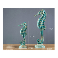 Mediterranean Style Home Furnishings Resin Seahorses Shell Living Room Wine Set Marine Theme Restaurant Murals Decoration Crafts