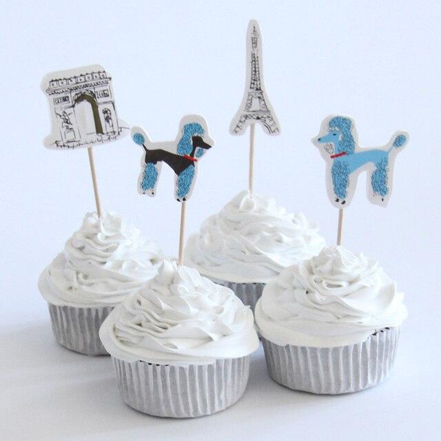 24pac/lot Paris Eiffel Tower Cupcake Topper Happy Birthday