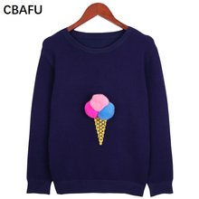 2fc8470b02 CBAFU ice cream Knitted sweater women long sleeve o neck autumn winter big  size pullover sweater plus size clothing X191