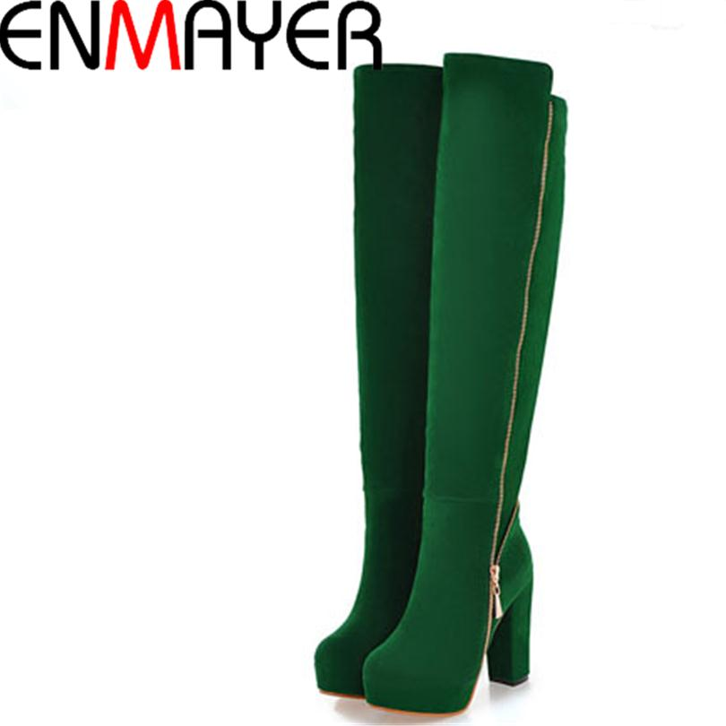 ENMAYER Free Shipping Large Size Fashion Sexy High heels Knee high Boots Knight Square Zipper Stovepipe