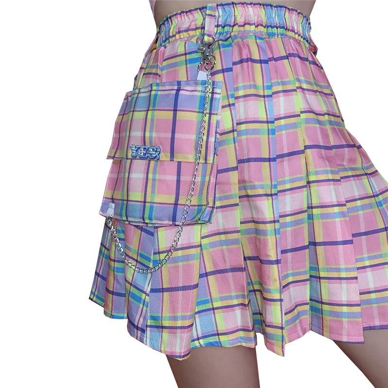 New Sexy Mini Gothic Women Skirt  Harajuku Kawaii High Waist Dance Skirts Wild Pink Sweet Plaid Pleated Skirt Female + Chain