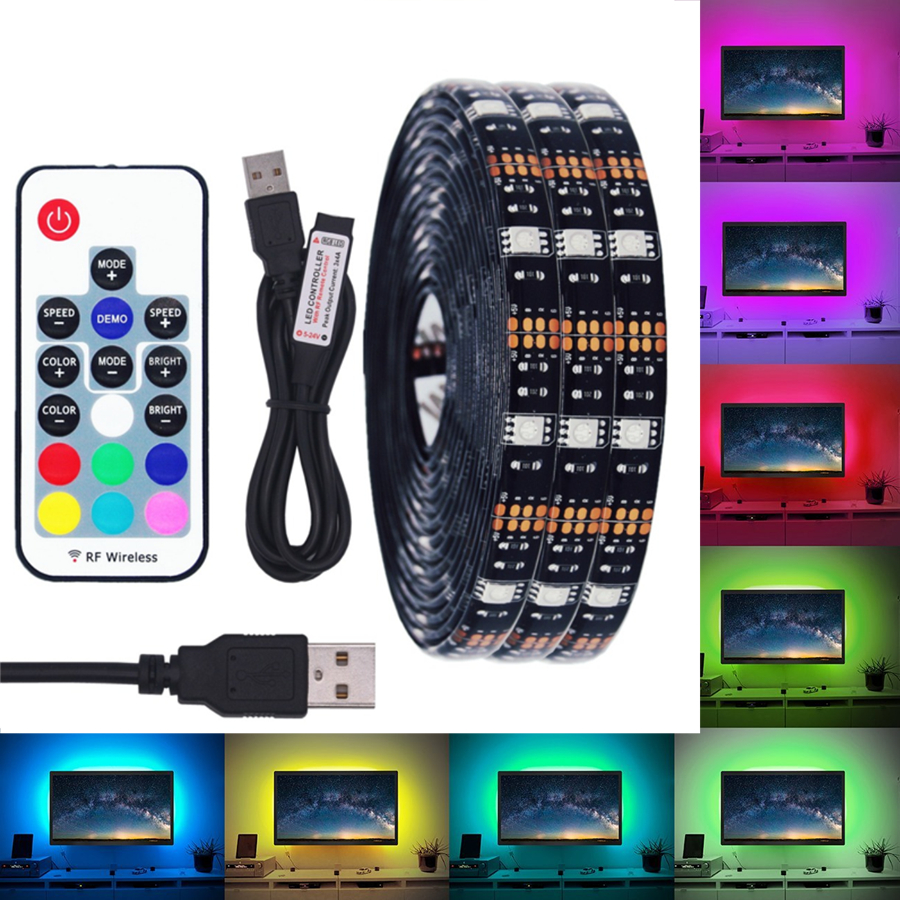 BEILAI DC 5V USB LED Strip 5050 Waterproof RGB LED Light Flexible 50CM 1M 2M add 3 17Key Remote For TV Background Lighting