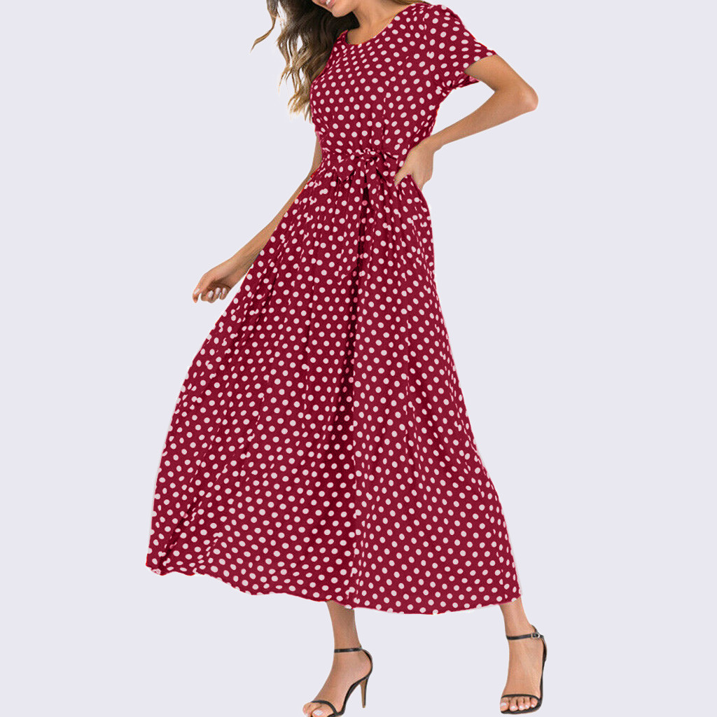 HTB1ifSTavWG3KVjSZPcq6zkbXXax - Summer Dress Women O-Neck Short Sleeve Boho Polka Dot Bandage Maxi Long Dress Women Beach Sundress Plus Size Vestidos