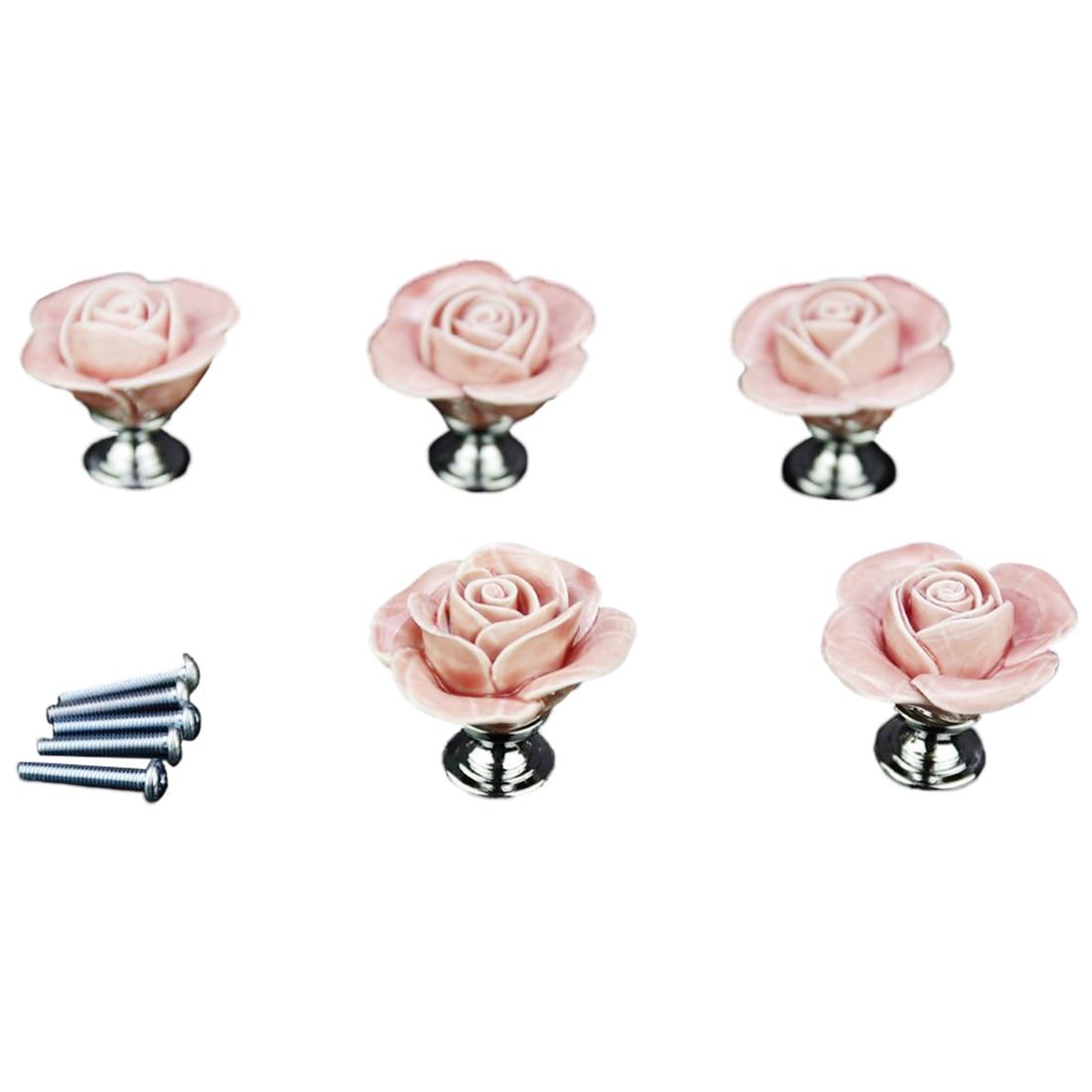 5 x Pink Door Furniture Ceramic Handle Antique Button Screws Included Elegant Design Rose shaped european modern bronze doors handle chinese antique glass door handle door handle carving