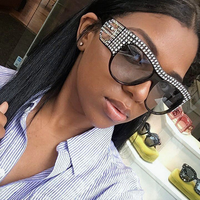 34c32a771f35 CCSPACE Oversized Rhinestone Frame Square Sunglasses For Women Diamond  Shiny Brand Glasses Designer Fashion Female Shades 45482