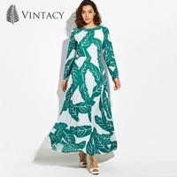 Vintacy Elegant Green Long Summer Dress Slim Zipper Print Loose Casual Long Sleeve Vintage Party Vestido