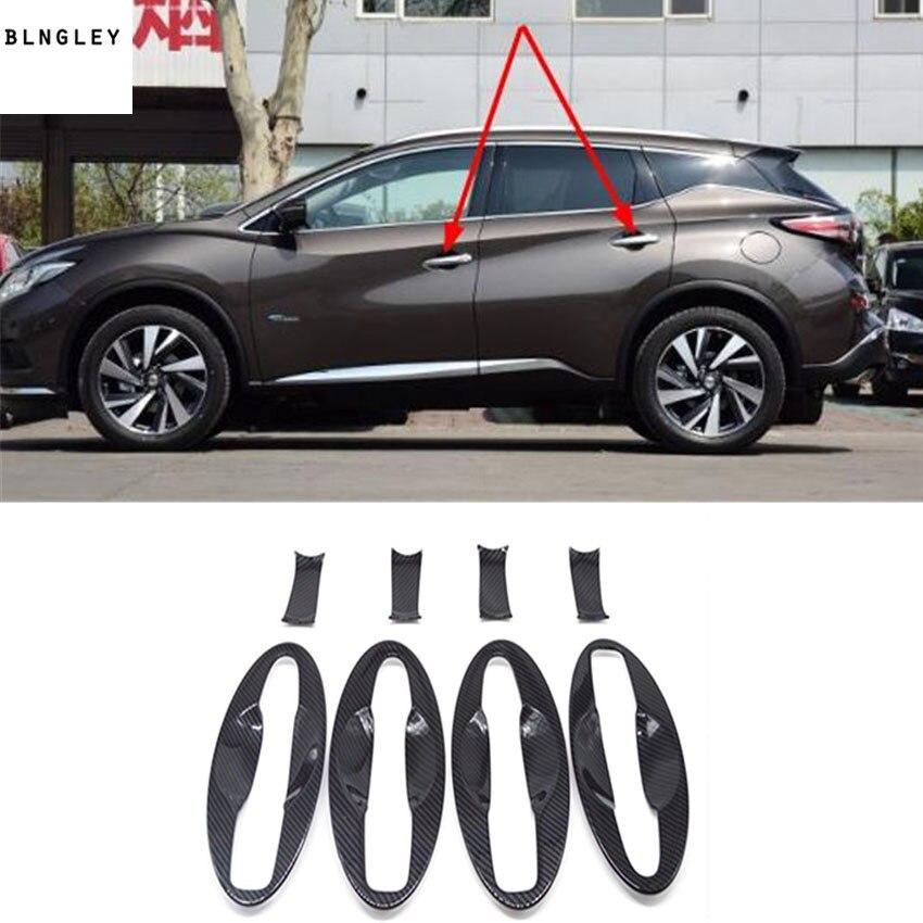 8pcs lot ABS Carbon fiber grain outside door shake handshandle bowl decoration cover for 2015 2018