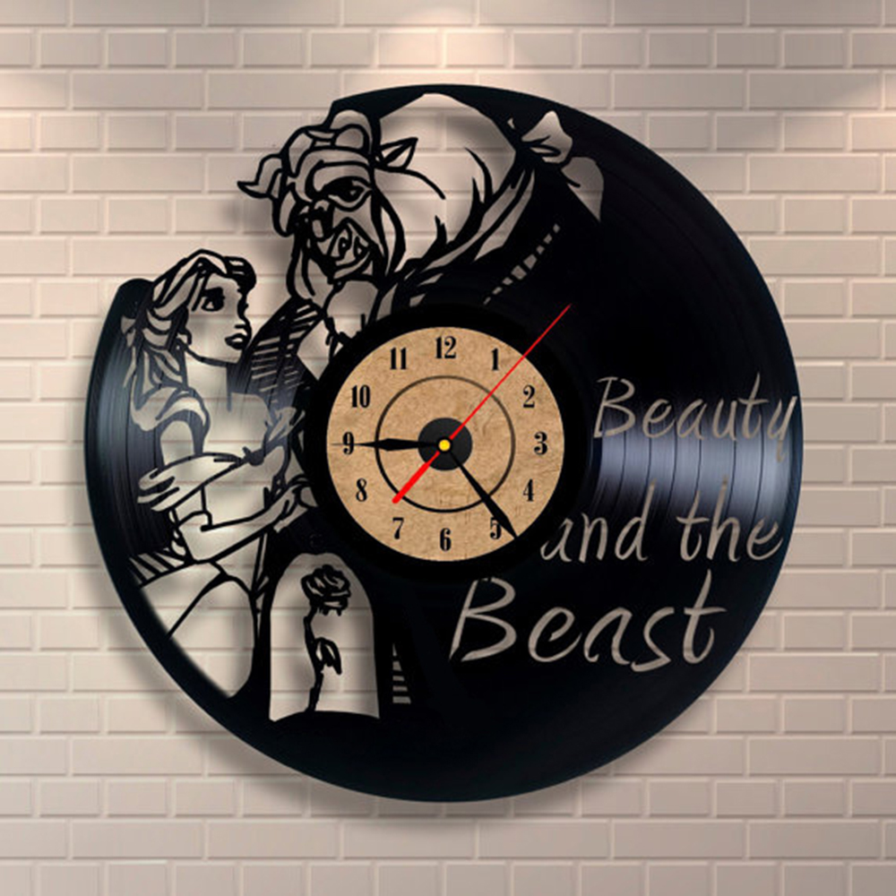 Beauty and the beast vinyl record wall clock design home for Vinyl record wall art