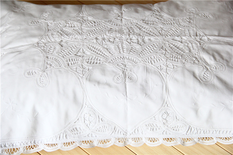 Free Shipping Pastoral Europe High Quality 100 Cotton Battenburg Lace Embroidered Handmade White Heart Pillow Case