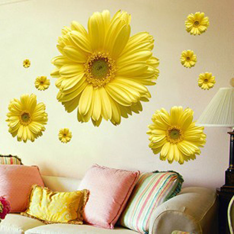 Free Shipping 1Set Yellow Flowers Decorative Combination DIY Wall Sticker Decor Chrysanthemum Daisy Home Bedroom Wall Decal