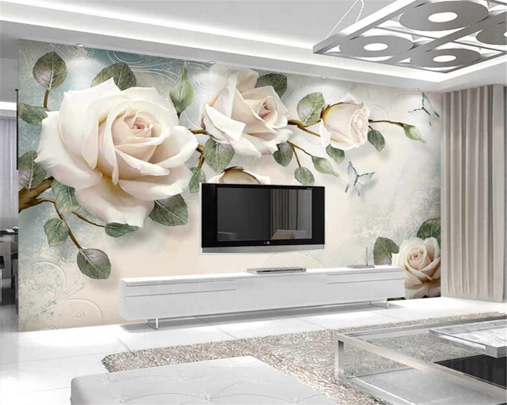 Beibehang Custom Home Background Decorative Mural Modern hand drawn painting flower european style wall wallpaper for walls 3 d beibehang wall panel wallpaper beibehang 3d balcony snowy lake landscape modern europe mural for large painting home decor
