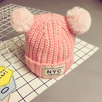 Cartoon Bear Baby Wool Hat Hair Ball Ears Children Letters Baby Beanie Girl Boy Winter Warm