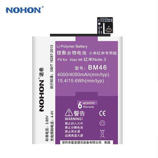 2017 NOHON For Xiaomi BM46 Battery 4000mAh Original Mobile Phone Batteries Free Tools For Xiaomi Redmi Note 3 Mi Note3 Pro