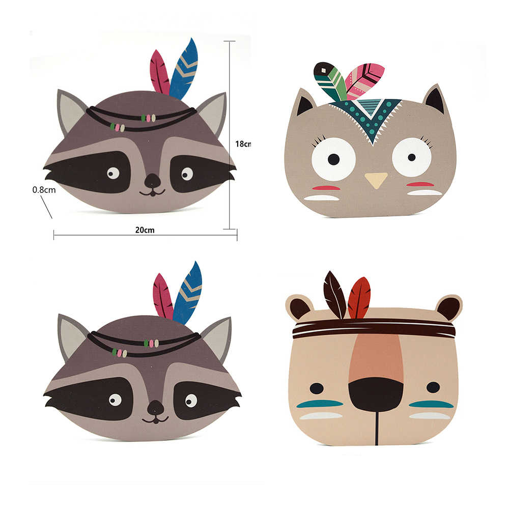Cute Fox Bear Cat Wall stickers For Kids Room Cartoon Nursery Home Children Room Decoration Stickers Posters Wood Wall Decor
