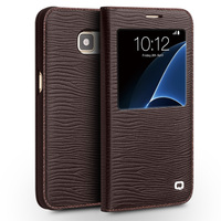 QIALINO Real Genuine Leather Case For Samsung Galaxy S7 S7 Edge For G9300 G9350 Smart Window