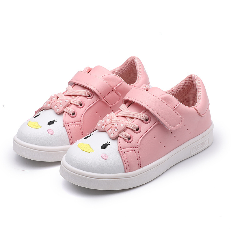 Toddler White Shoes For Girls Kids Casual Sneakers Sports Running Shoes Children Cartoon Flats With Cute Bow-knot Canvas Shoes